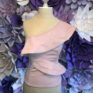 One shoulder blush pink top